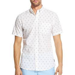 IZOD Mens Breeze Anchor Print Woven Button Down Shirt
