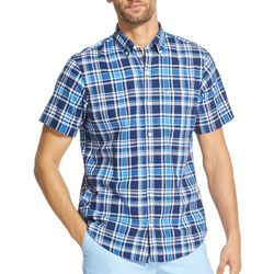 IZOD Mens Dockside Plaid Chambray Woven Button Down Shirt