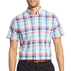 IZOD Mens Saltwater Dockside Chambray Plaid Shirt