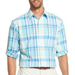 IZOD Mens Saltwater Dockside Chambray Plaid Pocket Shirt