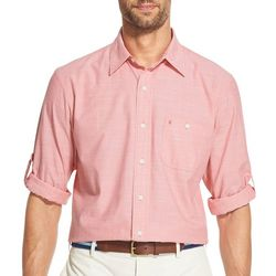 IZOD Mens Dockside Solid Chambray Button Down Shirt
