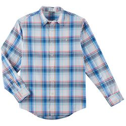 IZOD Mens Dockside Plaid Roll Sleeve Button Down Shirt