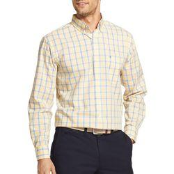 IZOD Mens Premium Essentials Stretch Windowpane Plaid Shirt
