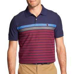 IZOD Mens Advantage Engineered Stripe Print Polo Shirt