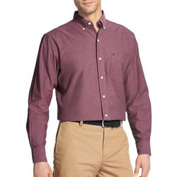 IZOD Mens Oxford Solid Woven Long Sleeve Shirt