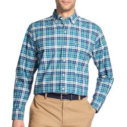 IZOD Mens Oxford Plaid Button Up Long Sleeve Shirt