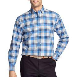 IZOD Mens Oxford Madras Plaid Woven Long Sleeve Shirt