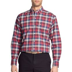 IZOD Mens Oxford Plaid Woven Button Up Shirt