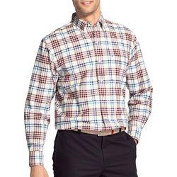 IZOD Mens Oxford Tartan Plaid Woven Button Down Shirt