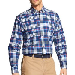 IZOD Mens Oxford Plaid Print Woven Long Sleeve Shirt