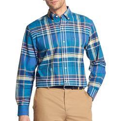 IZOD Mens Oxford Plaid Button Down Long Sleeve Shirt