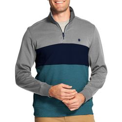 IZOD Mens Advantage Blocked Quarter Zip Pullover Sweatshirt