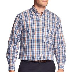 IZOD Mens Woven Plaid Grid Button Up Shirt