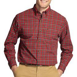 IZOD Mens Mini Tartan Plaid Long Sleeve Shirt