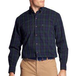 IZOD Mens Tartan Plaid Woven Long Sleeve Shirt