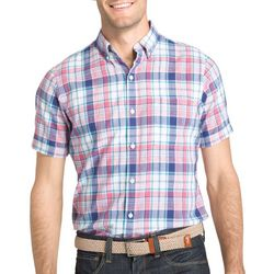IZOD Mens Rapture Plaid Chambray Short Sleeve Shirt
