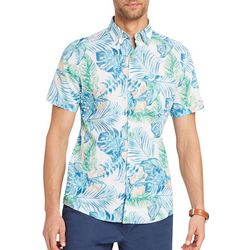IZOD Mens Tropical Leaf Short Sleeve Shirt