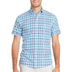 IZOD Mens Essential Plaid Chambray Short Sleeve Shirt