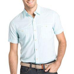 IZOD Mens Slubbed Chambray Short Sleeve Shirt