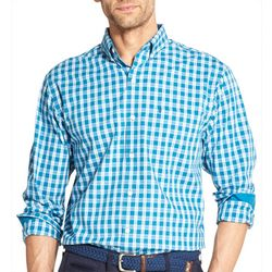 IZOD Mens Plaid Yarn Dyed Button Down Long Sleeve Shirt
