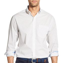 IZOD Mens Poplin Geo Print Button Down Long