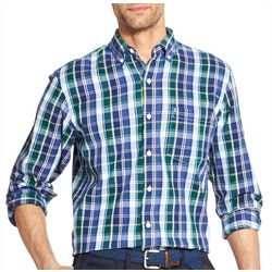 IZOD Mens Oxford Plaid Button Down Long Sleeve Shirt