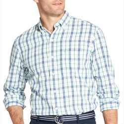 IZOD Mens Oxford Windowpane Button Down Long Sleeve Shirt