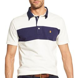 IZOD Mens Classic Rugby Colorblocked Polo Shirt