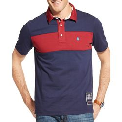 IZOD Mens Classic Rugby Colorblock Stripe Polo Shirt