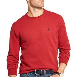IZOD Mens Solid Fleece Crew Neck Pullover