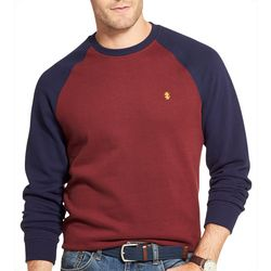 IZOD Mens Colorblocked Raglan Fleece Crew Neck Pullover