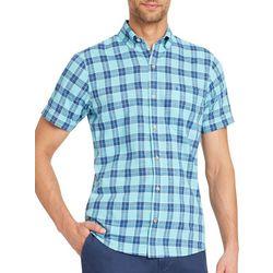 IZOD Mens Chambray Plaid Print Short Sleeve Shirt