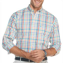 IZOD Mens Roadmap Plaid Button Down Long Sleeve Shirt