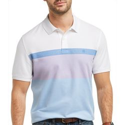 IZOD Mens Advantage Stripe Chest Print Polo Shirt