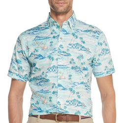 IZOD Mens Saltwater Chambray Beach Short Sleeve Shirt