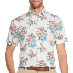 IZOD Mens Saltwater Chambray Parrot Short Sleeve Shirt