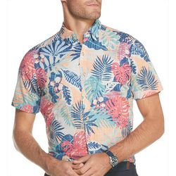 IZOD Mens Saltwater Chambray Tropical Short Sleeve Shirt