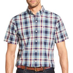 IZOD Mens Plaid Print Woven Button Down Shirt