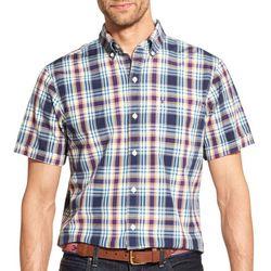 IZOD Mens Plaid Print Woven Button Down Shirt