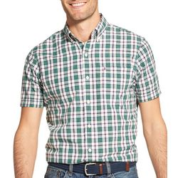 IZOD Mens Plaid Print Woven Button Down Short Sleeve Shirt