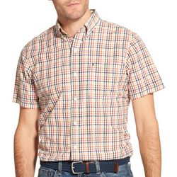 IZOD Mens Plaid Woven Button Down Short Sleeve