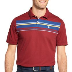 IZOD Mens Advantage Performance Stripe Print Polo Shirt