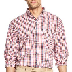 IZOD Mens Micro Plaid Button Down Long Sleeve