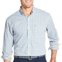 IZOD Mens Tatter Plaid Button Down Long Sleeve