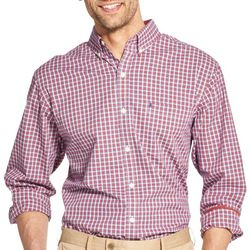 IZOD Mens Checkered Yarn Dyed Button Down Long