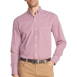 IZOD Mens Gingham Yarn Dyed Button Down Long Sleeve Shirt