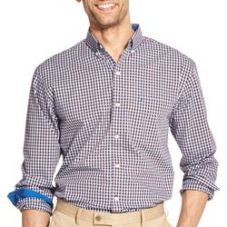 IZOD Mens Gingham Yarn Dyed Button Down Long