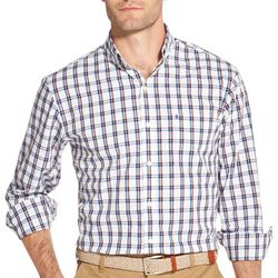 IZOD Mens Window Pane Button Down Long Sleeve Shirt