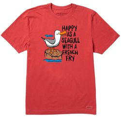 Life Is Good Mens Happy As A Seagull Crusher T-Shirt