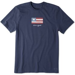 Life Is Good Mens Three Stripe Flag Vintage Crusher T-Shirt